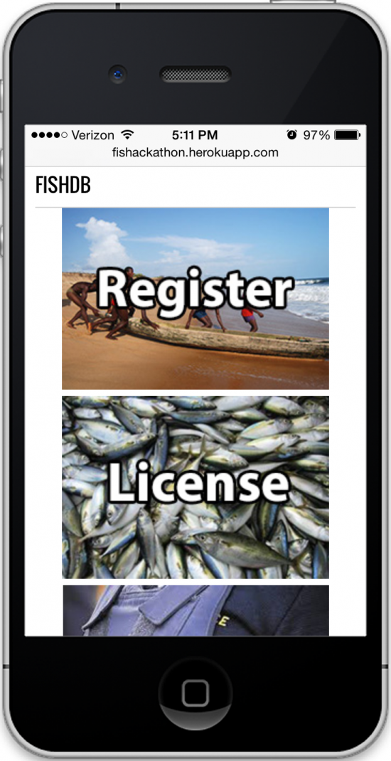 The mobile app lets fishers register their boats, get fishing licenses, and report illegal fishing activity