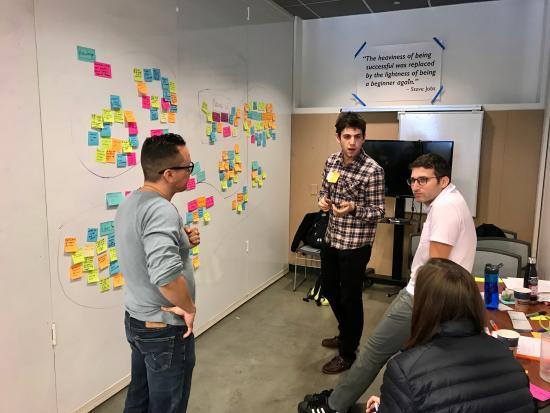 The team brainstorming their designs