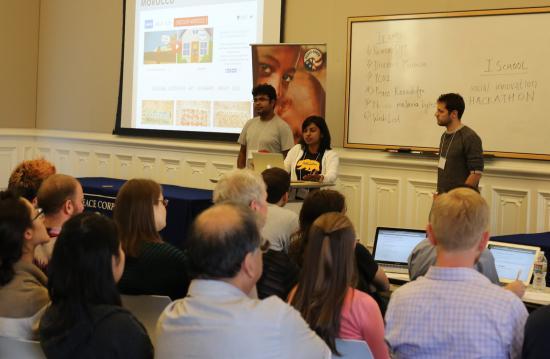 Final presentation by the Discover Morocco team: Sayatan Mukhopadhyay, Priya Iyer, and Timothy Meyers