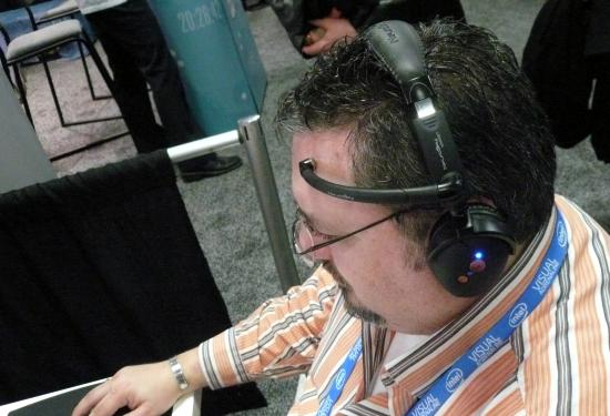 "New headsets use a single sensor resting against the forehead. (<a href=""http://flic.kr/p/6abfCp"">photo by Cory Doctorow</a>)"