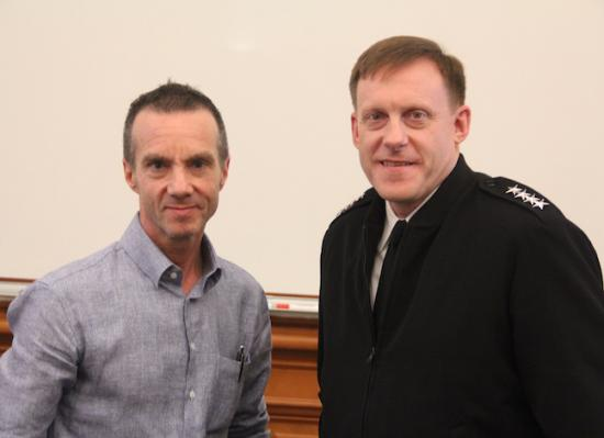 Professor Steve Weber (left) and Admiral Michael Rogers, commander of U.S. Cyber Command