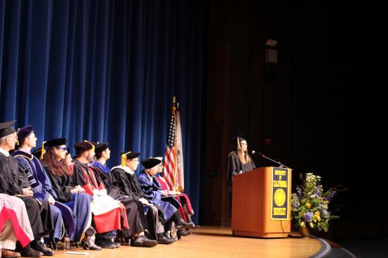 Christina Papadimitriou  speaking at graduation