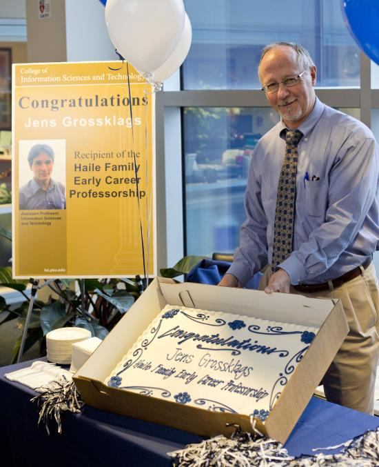 David Hall, dean of Information Sciences and Technology, honors Jens Grossklags