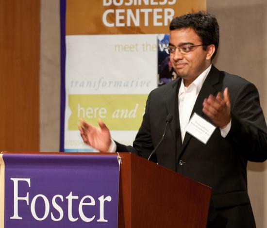 Thejo Kote (MIMS '11) presents the NextDrop project at the GSEC. <br>(photo: Paul Gibson/Foster School of Business)