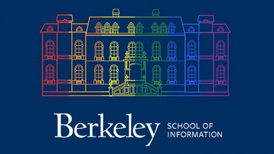 graphic of South Hall in rainbow colors with I School logo