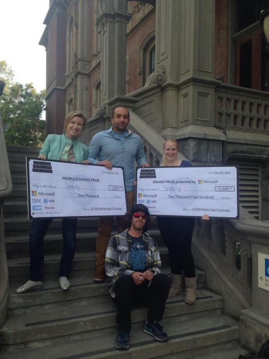 Snapily won both the $2,500 Grand Prize and the $1,000 People's Choice Prize.