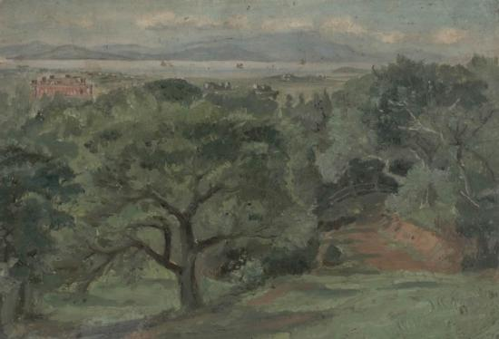 Berkeley, overlooking University of California campus, c. 1881. F. Bühler, artist; Courtesy of Bancroft Library.