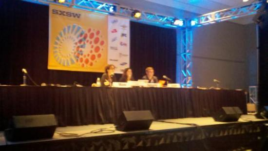 "Larisa Mann, Jess Hemerly, and Jason Schultz presenting at SXSW <a href=""http://twitpic.com/49jh5b"">(photo: @WhitTxState11)</a>"